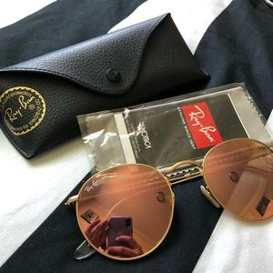 ROSE GOLD MIRRORED ROUNDED RAYBAN 52mm